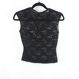 PS Per Seption Tops - Black/Tan Floral Lace Short Sleeve Top